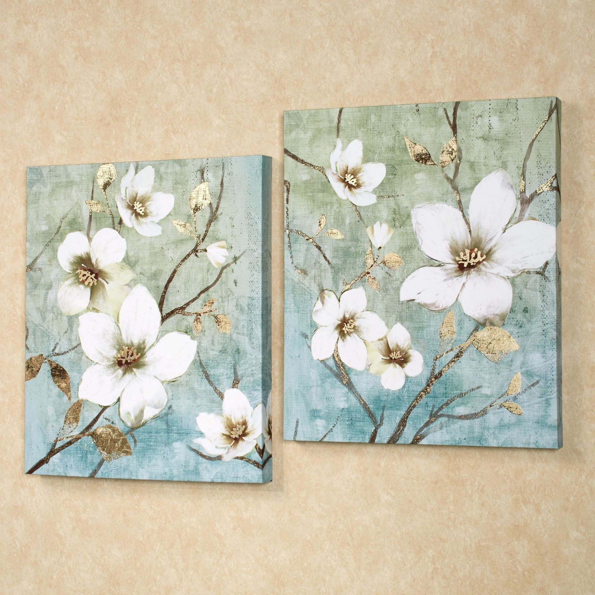 In Bloom Floral Canvas Wall Art Set With Regard To Recent Floral Canvas Wall Art (View 11 of 20)