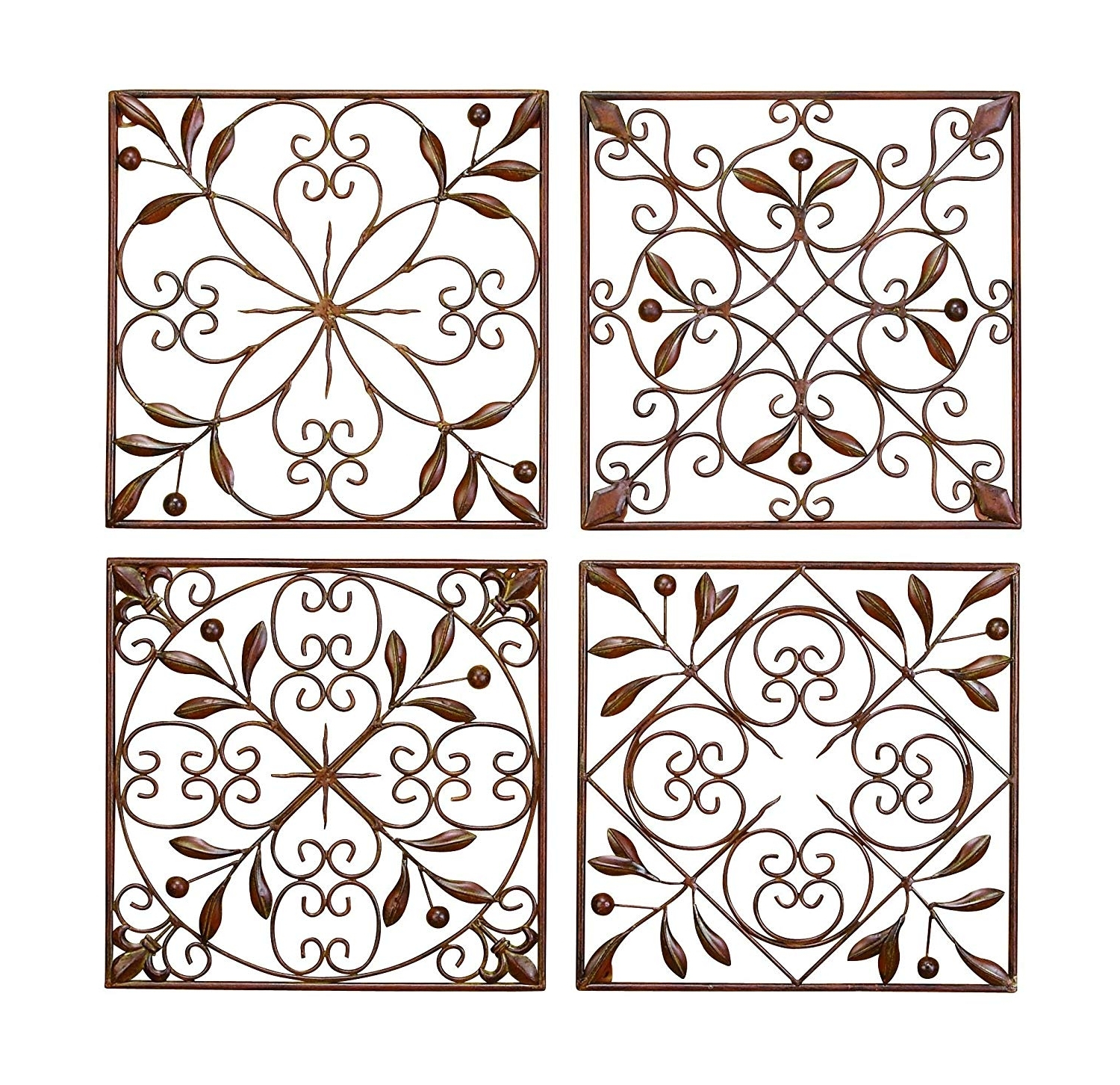 Iron Wall Art Inside Widely Used Amazon: Deco 79 50035 Metal Wall Decor Set Of 4: Home & Kitchen (View 18 of 20)