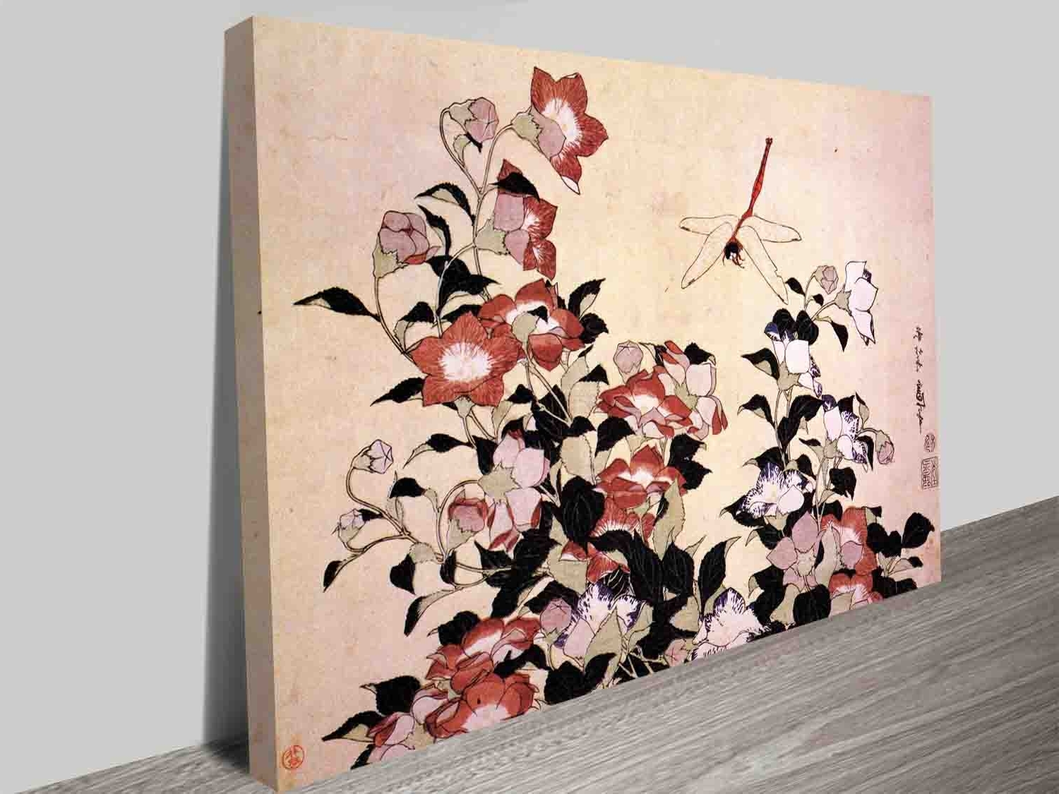Japanese Wall Art In Favorite Hokusai Chinese Bell Flower And Dragon Fly Traditional Japanese Wall (Gallery 20 of 20)