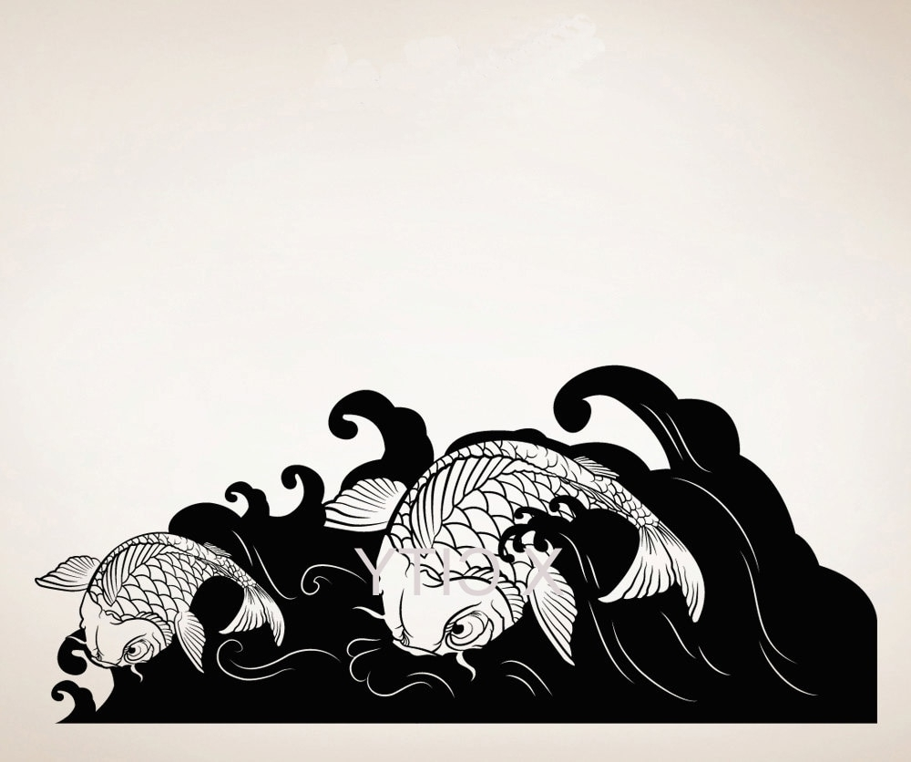 Japanese Wall Art Inside Most Recent Koi Fish Wave Japan Style Creative Wall Art Sticker Removable Vinyl (View 9 of 20)