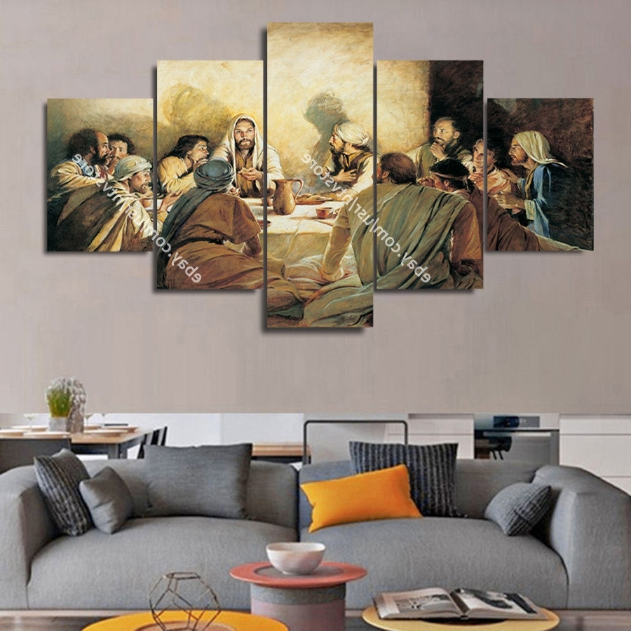 Jesus Christ Wall Art Framed Canvas Print The Last Supper Christian Regarding Well Liked Modern Framed Wall Art Canvas (Gallery 7 of 20)