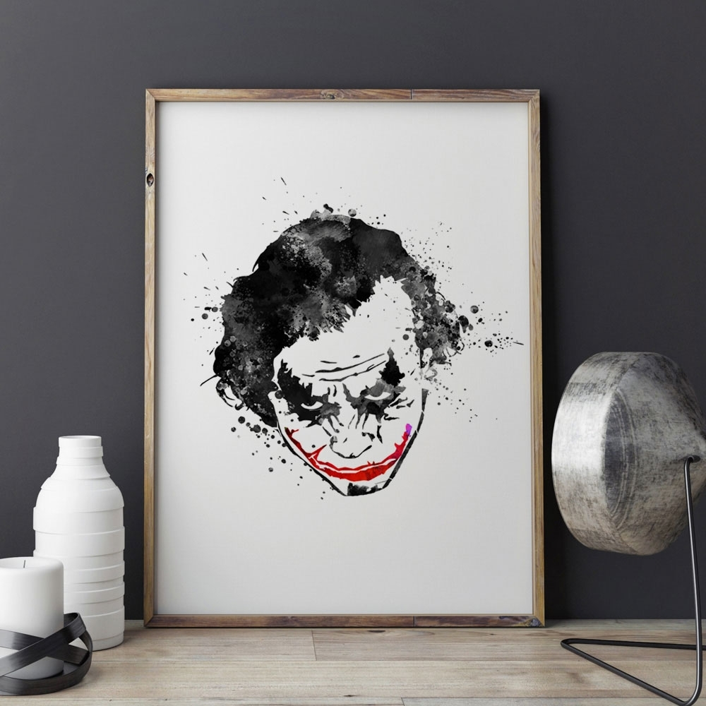 Joker Wall Art Regarding Favorite Black Joker Watercolor Nursery Why So Serious The Dark Knight Black (Gallery 6 of 20)