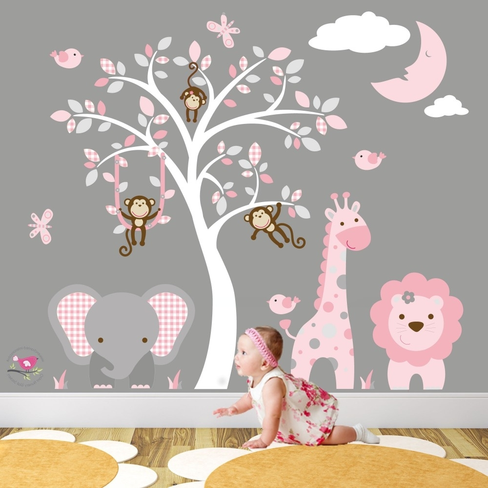 Jungle Animal Nursery Wall Art Stickers Pertaining To Recent Baby Room Wall Art (Gallery 3 of 20)