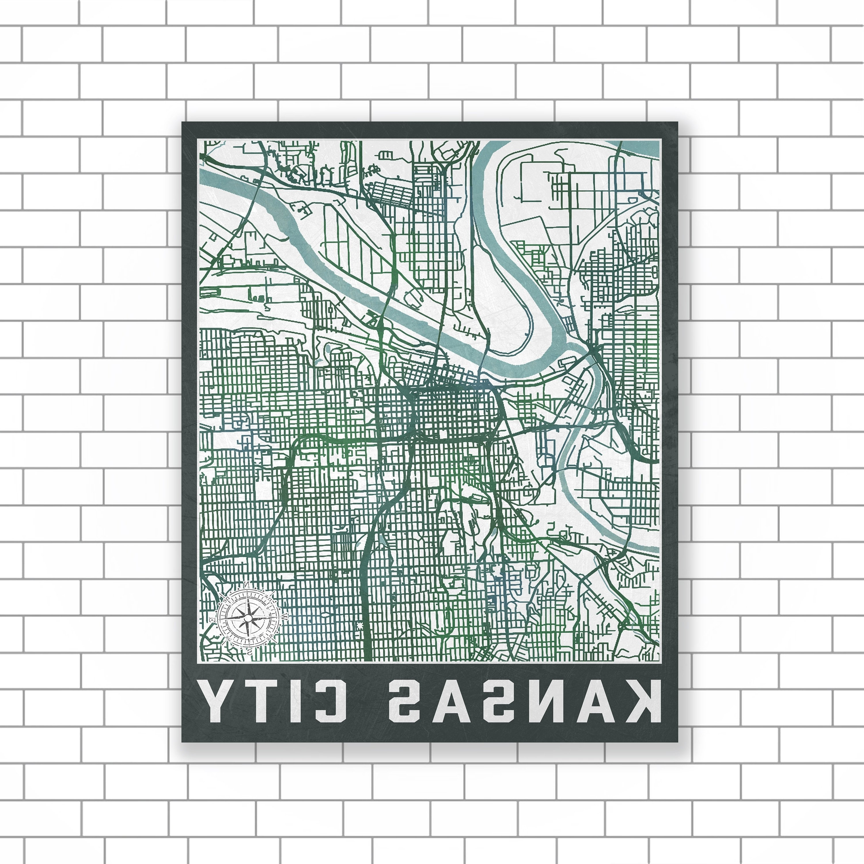 Kansas City, Missouri, Kansas City Map, Street Map, Map Of Kansas In Trendy Kansas City Wall Art (View 19 of 20)