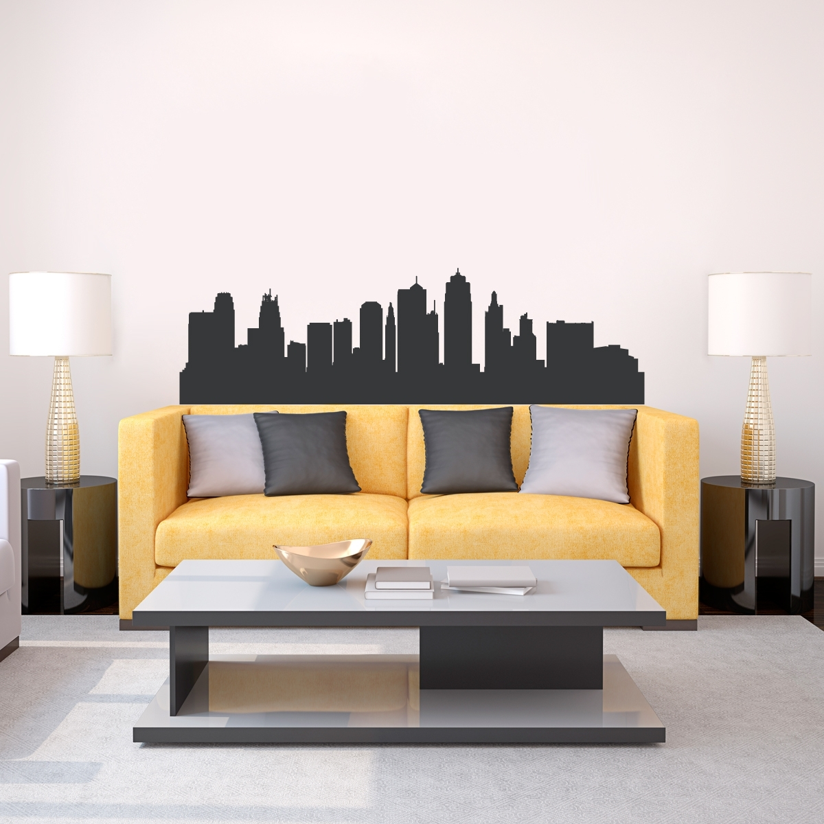 Kansas City Missouri Skyline Vinyl Wall Decal Sticker Intended For Newest Kansas City Wall Art (View 2 of 20)