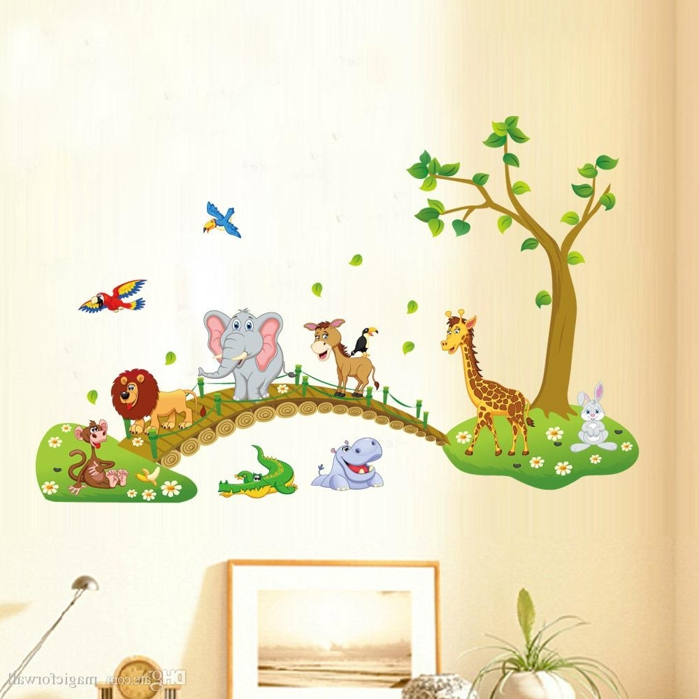 Kids Babies Boys Girls Room Wall Decor Poster Cartoon Animals Lined For Well Known Baby Room Wall Art (Gallery 5 of 20)