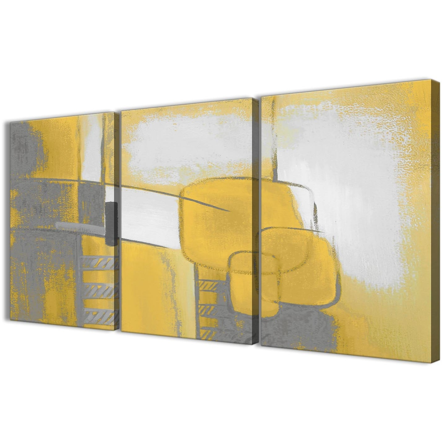 Kitchen Canvas Wall Art Decors Inside Famous 3 Piece Mustard Yellow Grey Painting Kitchen Canvas Pictures Decor (Gallery 10 of 20)