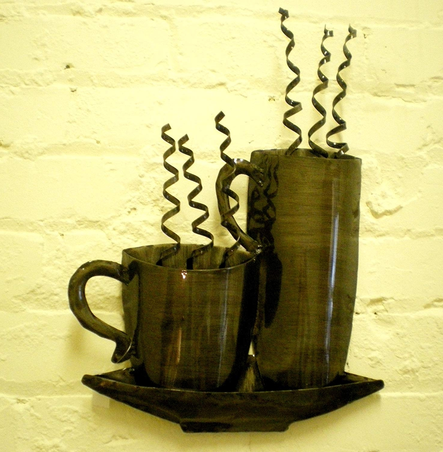 Kitchen Metal Wall Art With Most Up To Date Steaming Cups Mugs Bronzed Kitchen Metal Wall Art: Amazon.co (View 13 of 20)