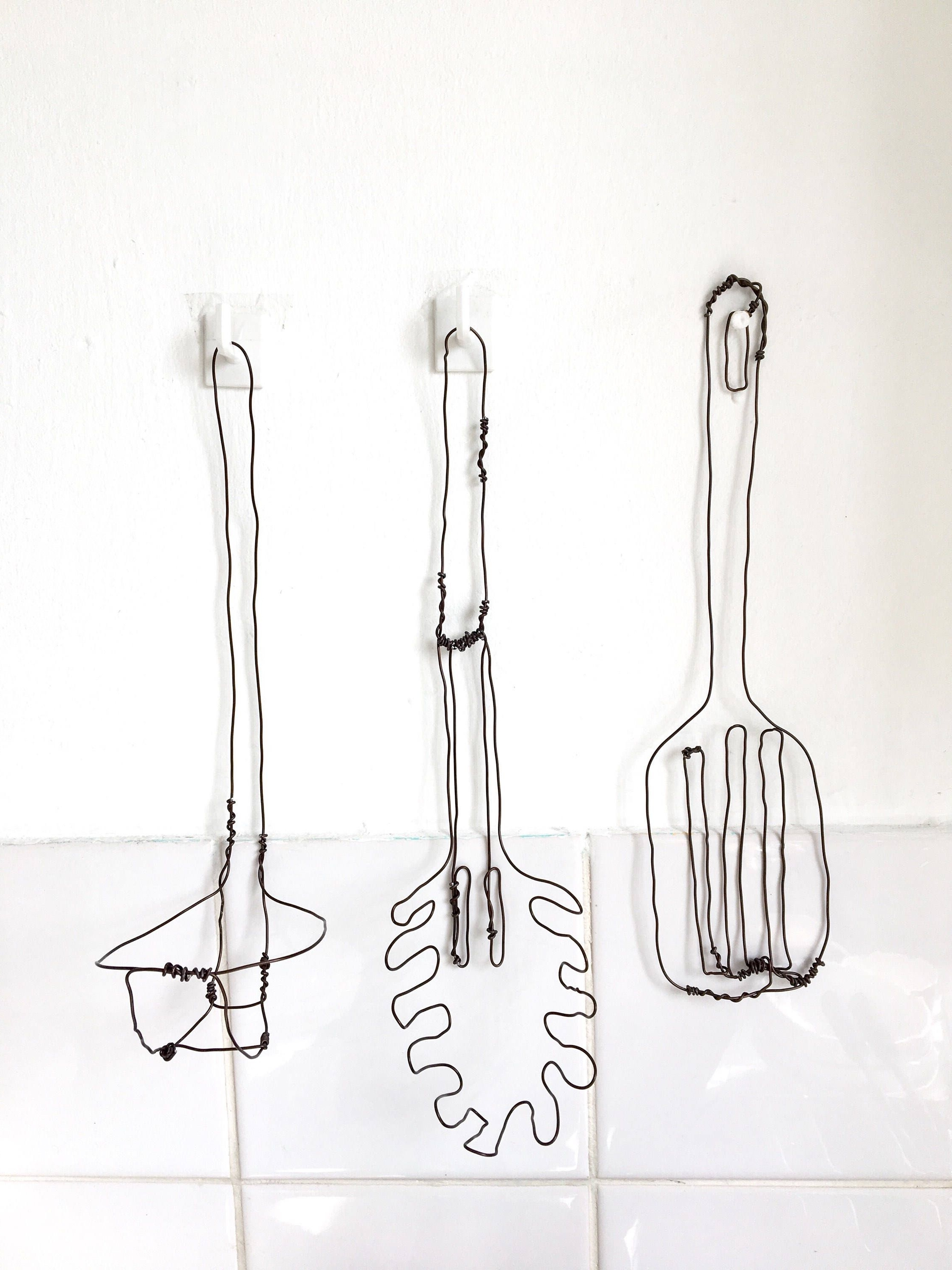 Kitchen Utensils  Kitchen Wall Art  Kitchen Decor  Wire Utensils Inside Best And Newest Wire Wall Art (View 5 of 20)