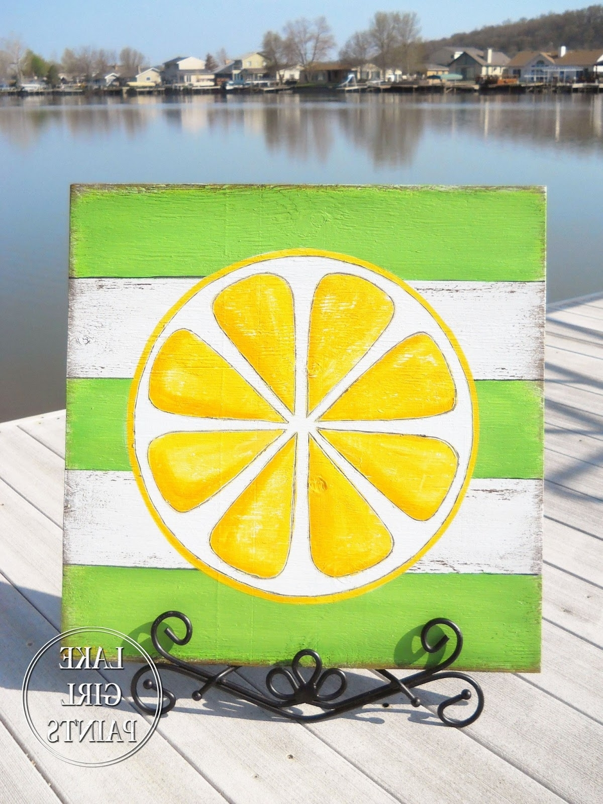 Lake Girl Paints: Diy Wall Art – Citrus Stripes Within 2017 Lemon Wall Art (View 3 of 20)