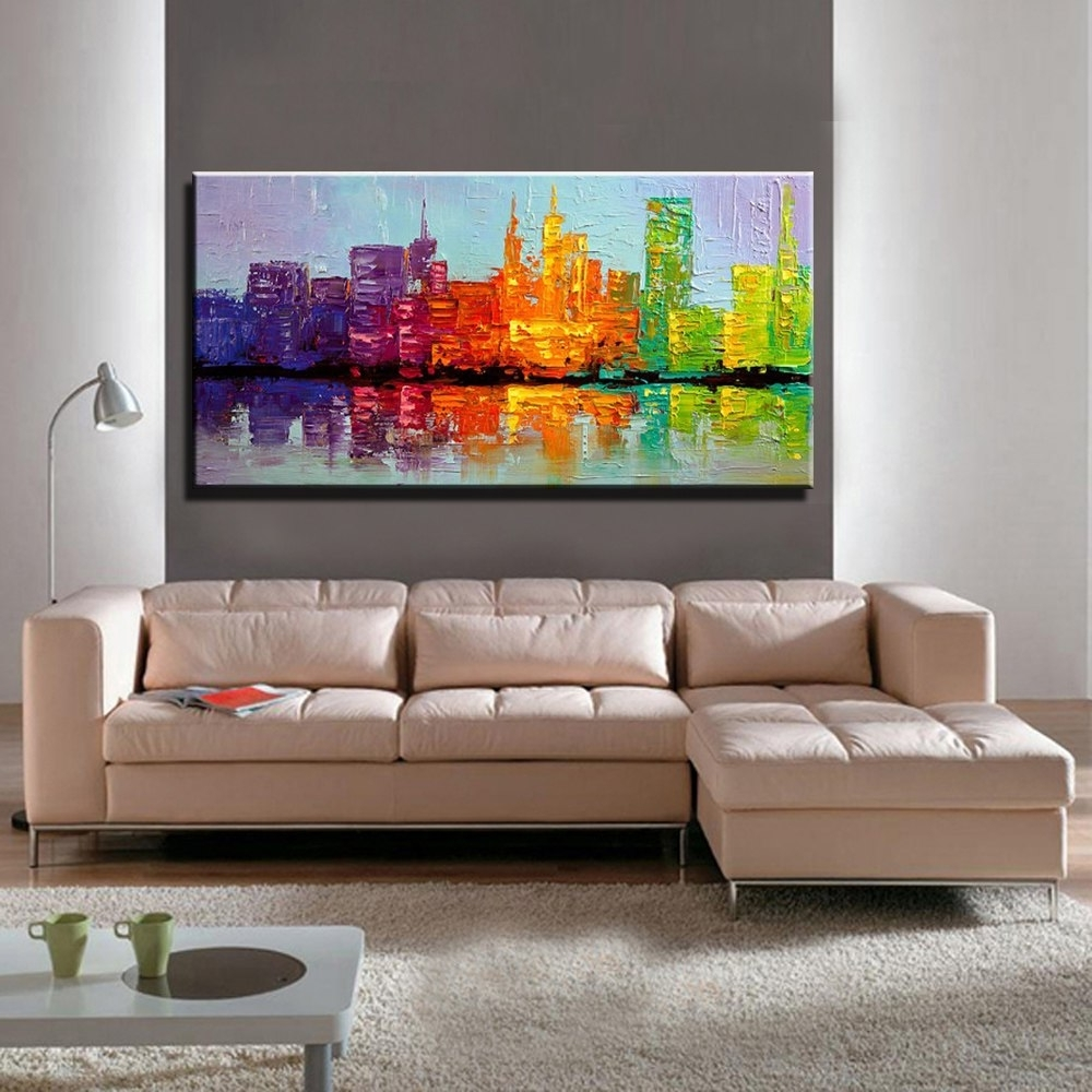 Large Acrylic Knife Paint Hand Painted Abstract Wall Art Building With Newest Acrylic Wall Art (View 12 of 20)