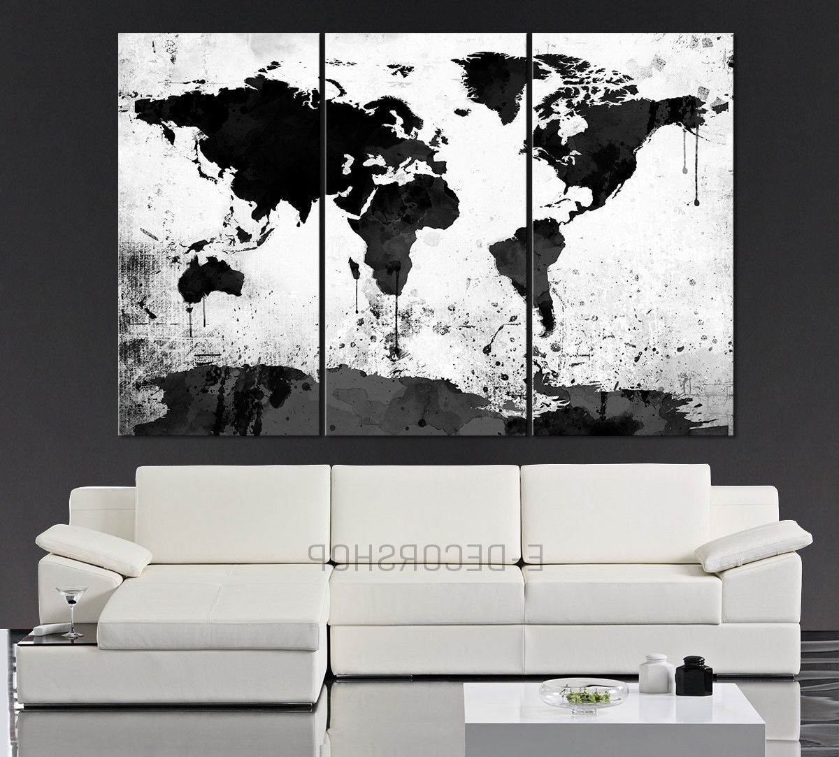 Large Black White World Map Canvas Print – 3 Piece Watercolor Splash Pertaining To Latest Black And White Large Canvas Wall Art (View 15 of 20)