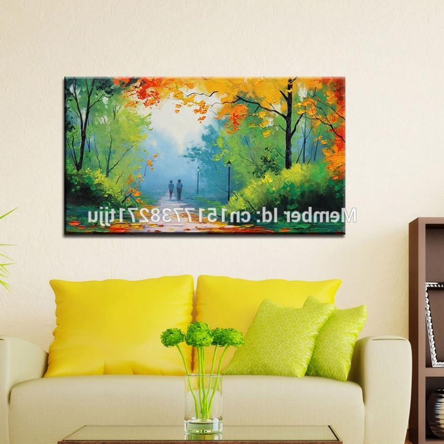 Large Canvas Art Cheap Modern Handmade Green Spring Scenery Oil With Current Cheap Large Canvas Wall Art (Gallery 20 of 20)