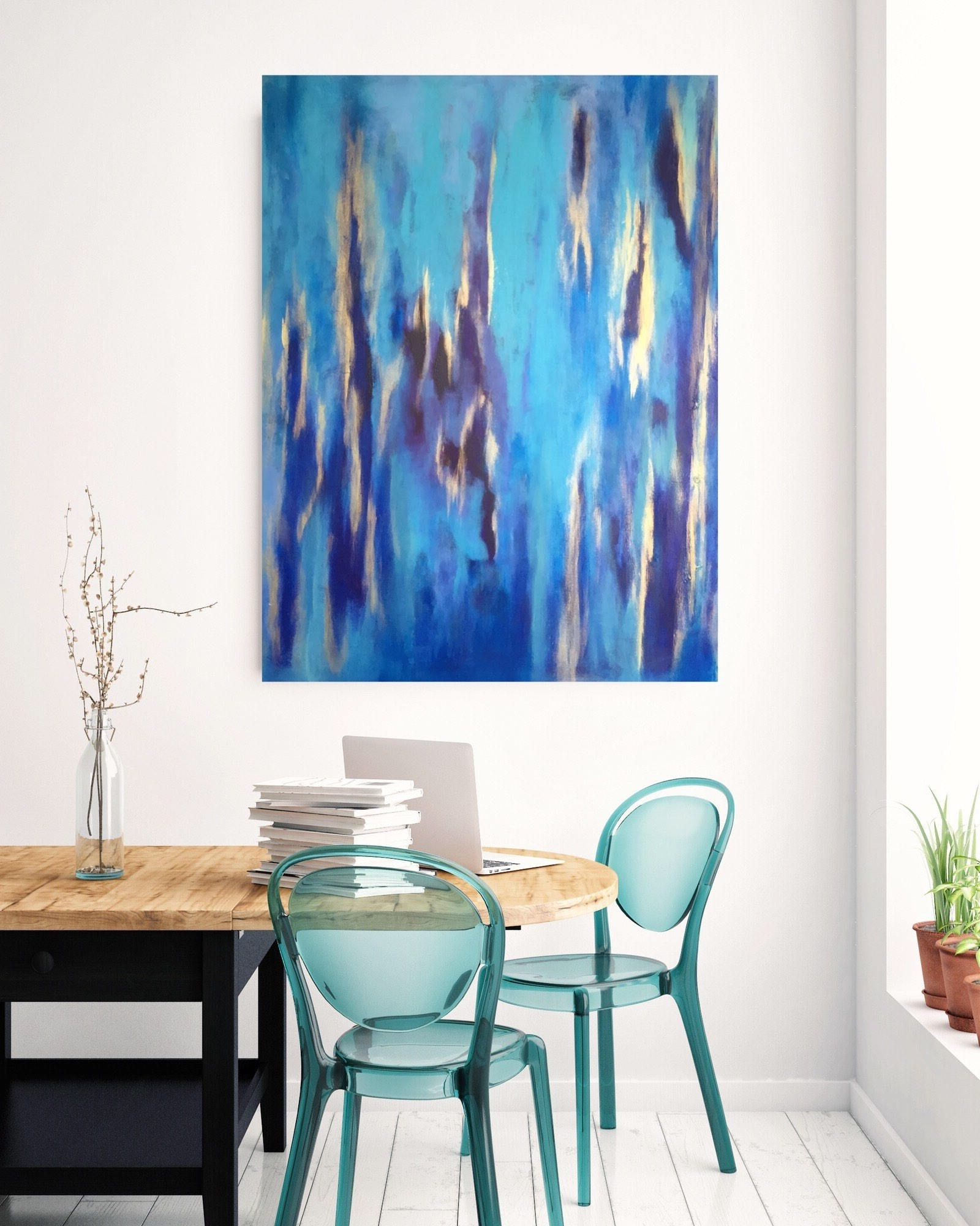 Large Coastal Wall Art Intended For Best And Newest Large Wall Art,acrylic Blue Painting, Abstract Art Gold, Coastal (Gallery 8 of 20)