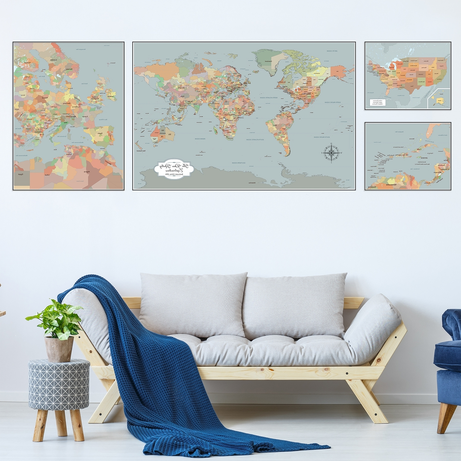 Large Coastal Wall Art Pertaining To Latest Large World Map Wall Art, Set Of 4 Push Pin Maps With Pins, Personalized (View 19 of 20)