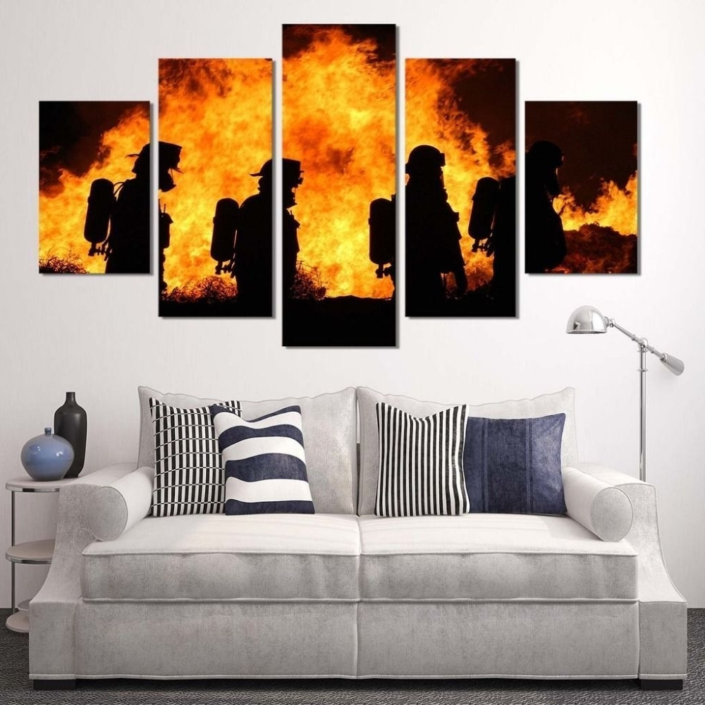 Large Framed Canvas Wall Art For Recent Framed 5 Piece Firefighters Poster Canvas Painting Wall Art Print (View 19 of 20)