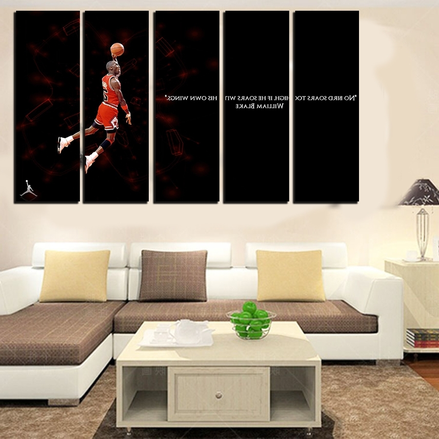 Large Framed Canvas Wall Art Pertaining To Favorite 5 Pcs For Michael Jordan Large Seaview With Frame Canvas Print (View 7 of 20)