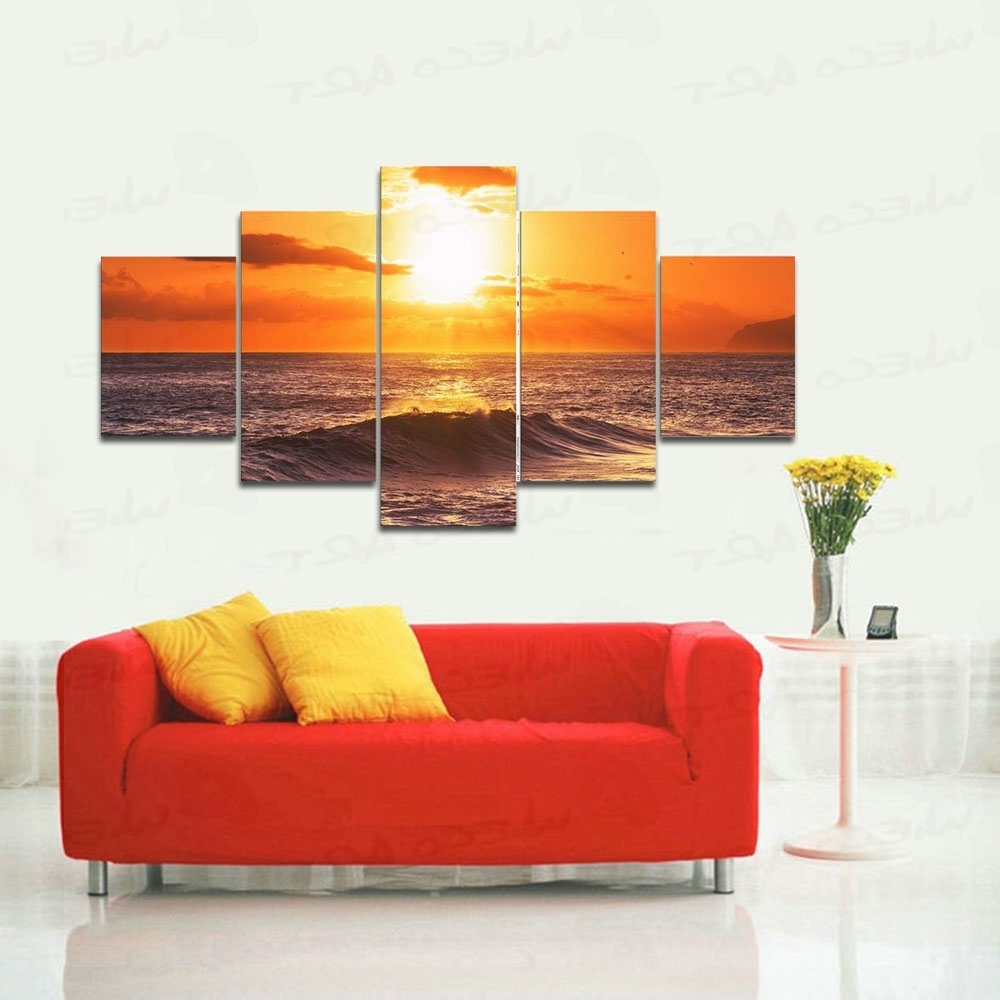 Large Framed Canvas Wall Art Pertaining To Well Known Wieco Art 5 Panels Stretched Large Size The Morning Sea Hd Canvas (View 12 of 20)