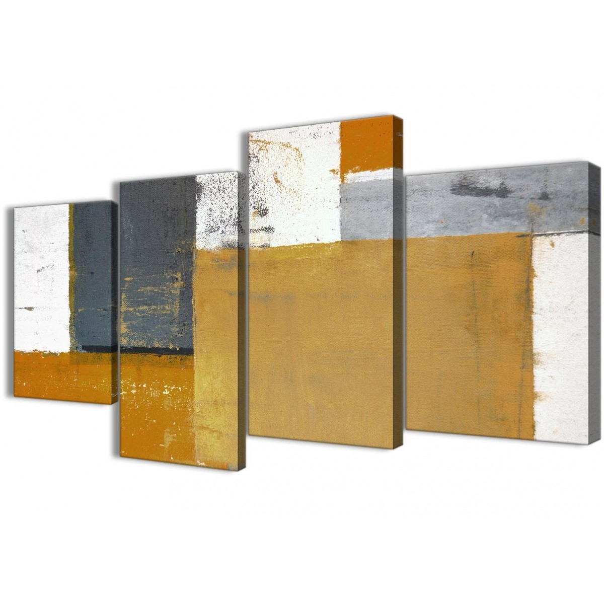 Large Orange Grey Abstract Painting Canvas Wall Art Print – Split 4 Inside Well Liked Multi Piece Wall Art (View 8 of 20)