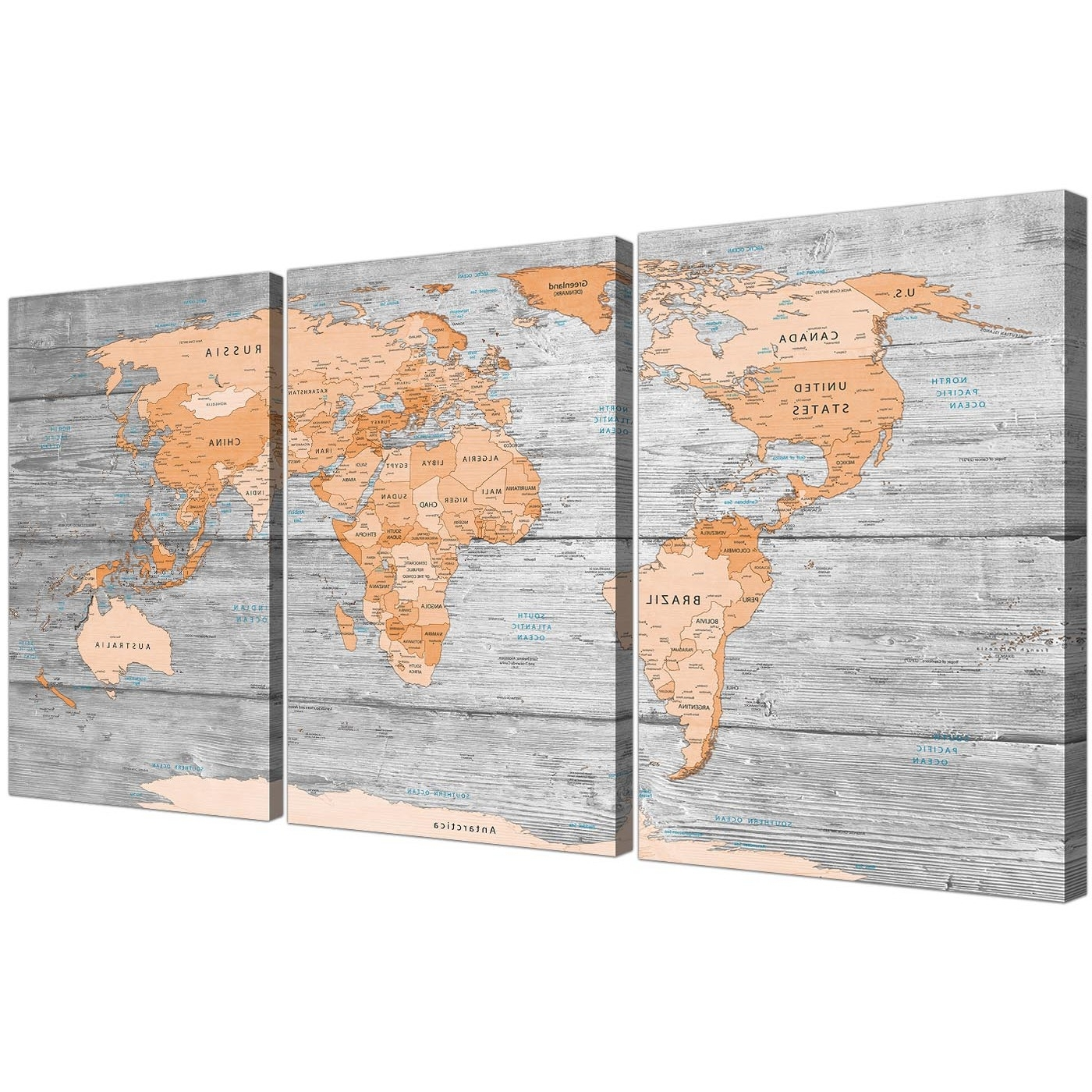Large Orange Grey Map Of World Atlas Canvas Wall Art Print – Split 3 Regarding Trendy Orange Wall Art (View 5 of 20)