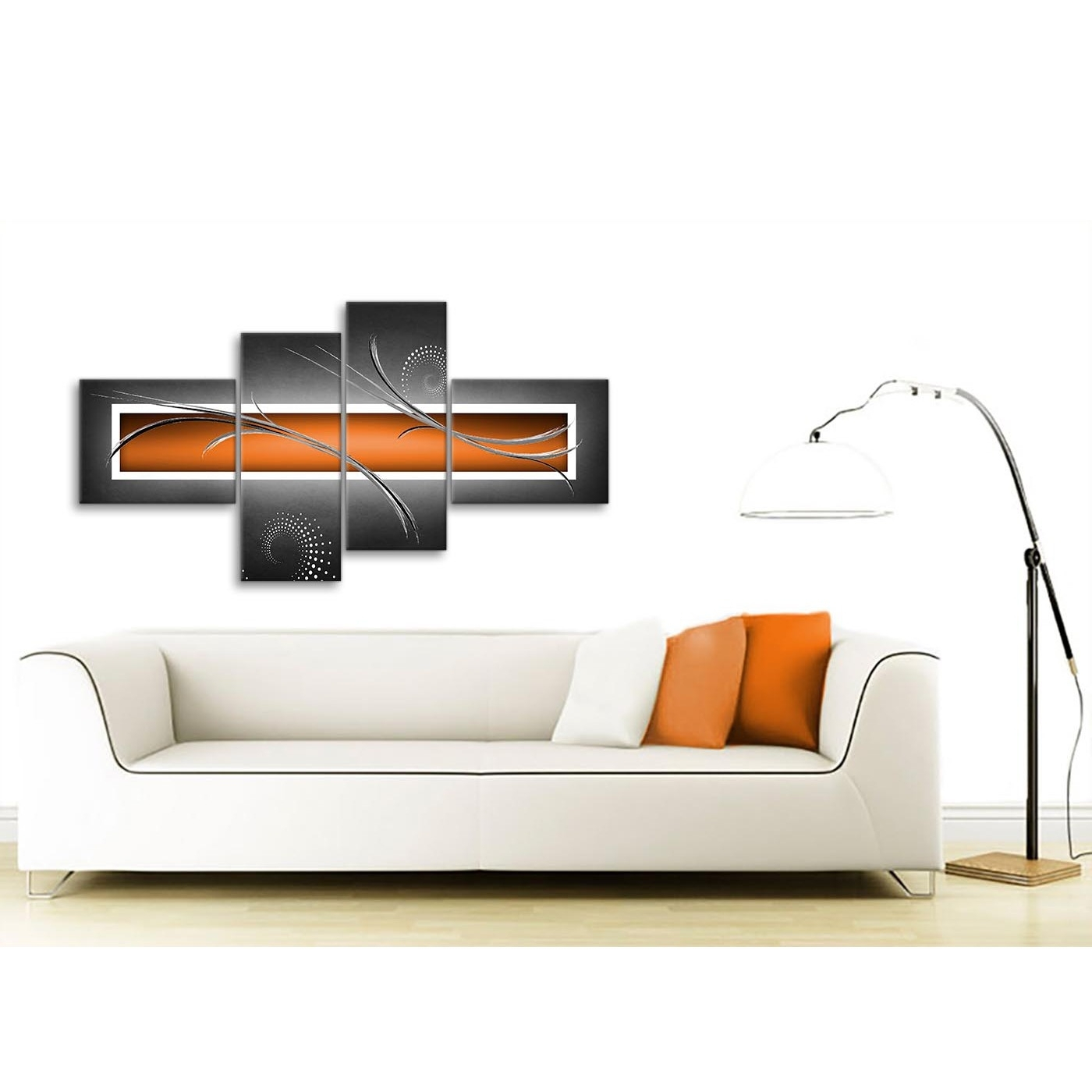 Large Orange Grey White Modern Abstract Canvas Wall Art – Split 4 Pertaining To Most Popular Modern Large Canvas Wall Art (View 6 of 20)