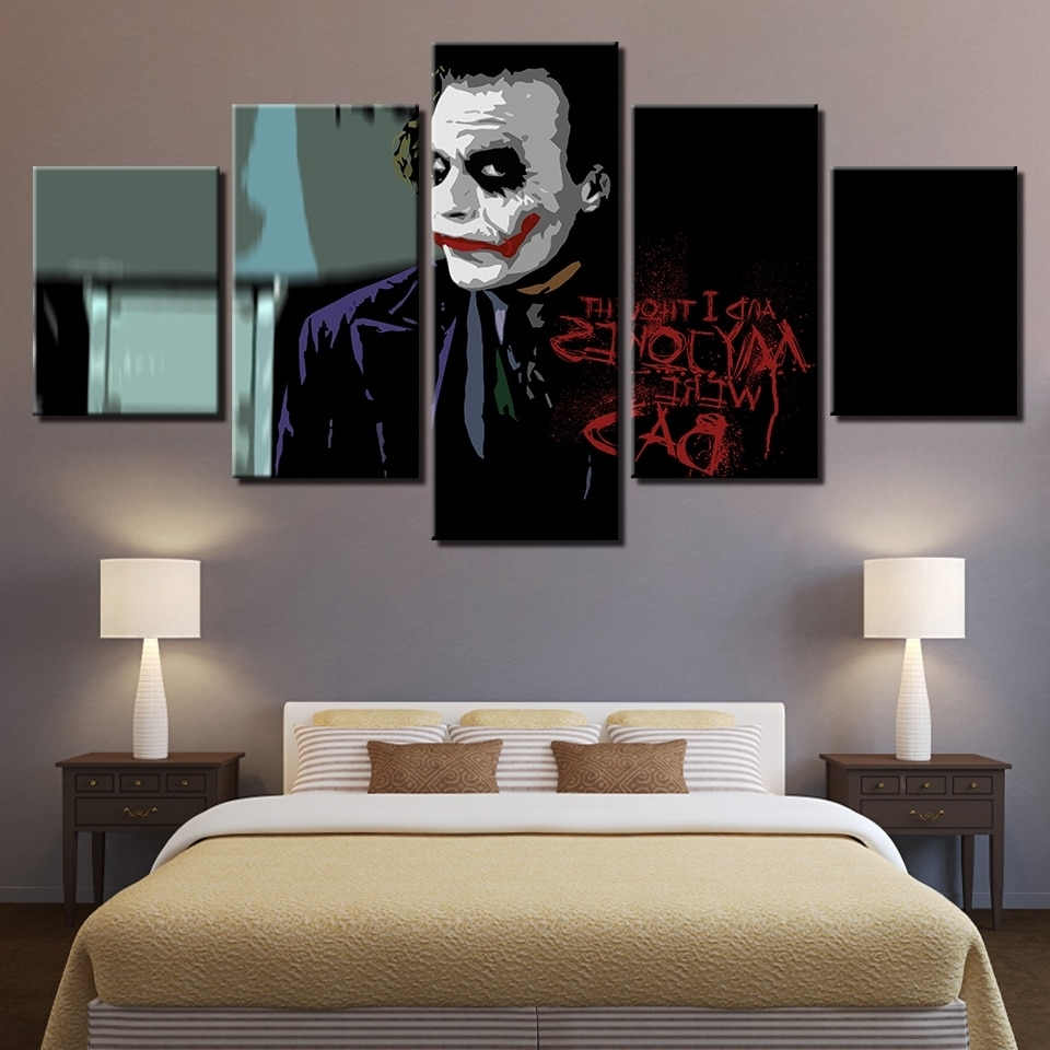 Large Poster Hd Printed Painting Canvas Home Decoration 5 Panel With Recent Joker Wall Art (View 13 of 20)