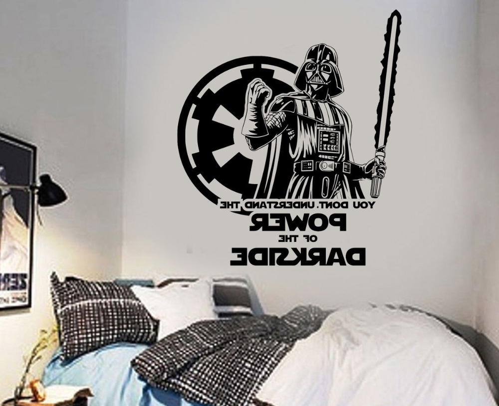 Large Star Wars Darth Vader Vinyl Wall Art Sticker Room Bedroom For Well Known Darth Vader Wall Art (View 11 of 20)