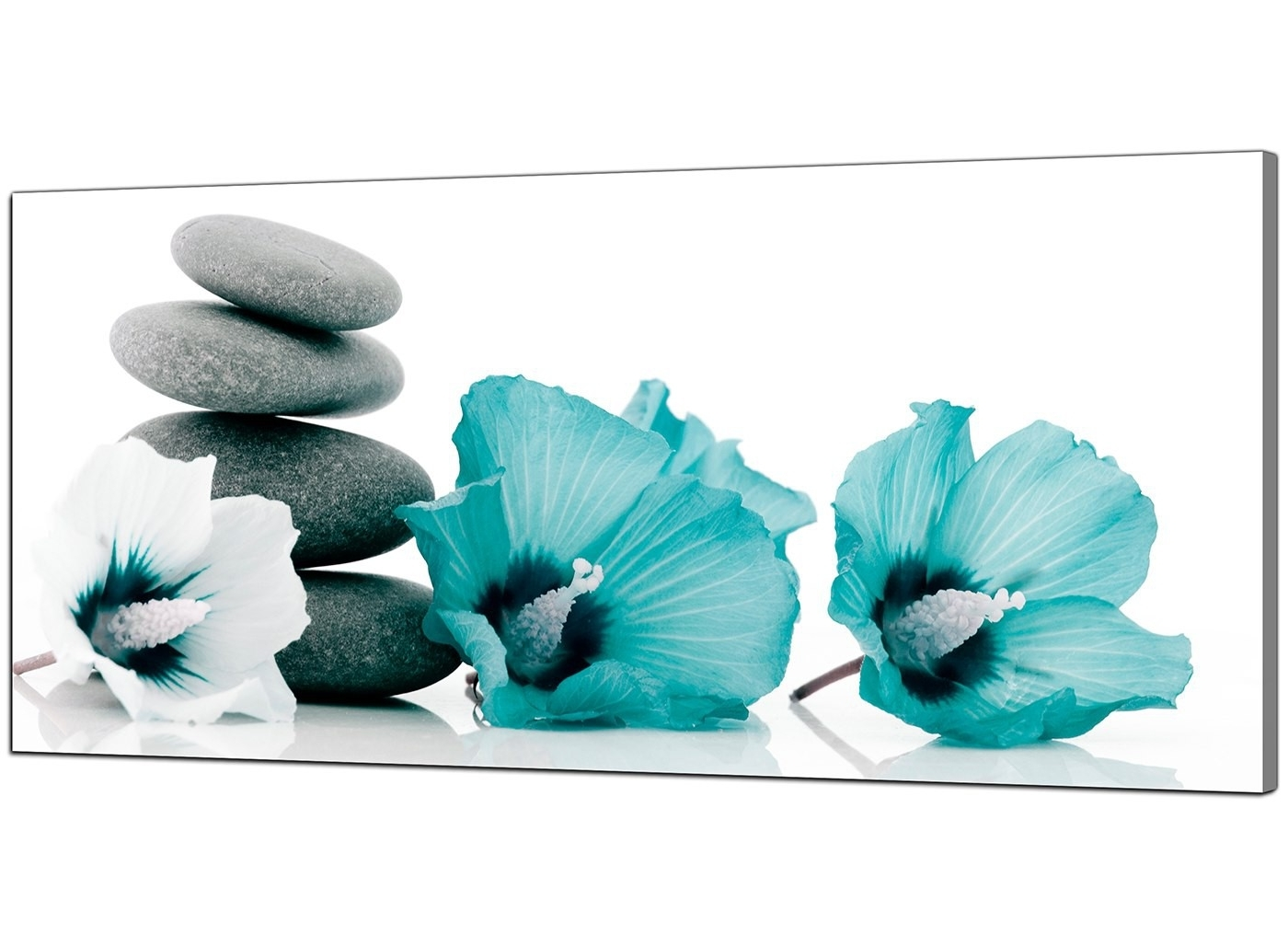 Large Teal And Grey Canvas Pictures Of Flowers And Pebbles For Famous Teal Wall Art (Gallery 10 of 15)