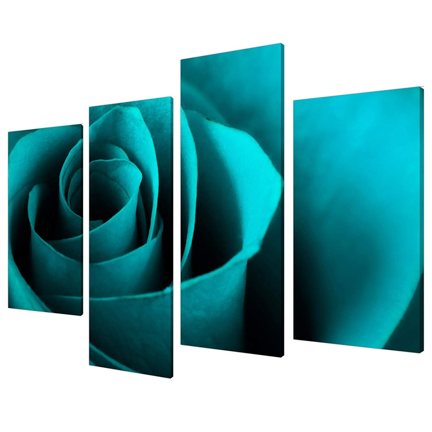 Large Teal Turquoise Floral Canvas Wall Art Pictures Xl Prints 4109 With Most Popular Turquoise Wall Art (View 7 of 20)