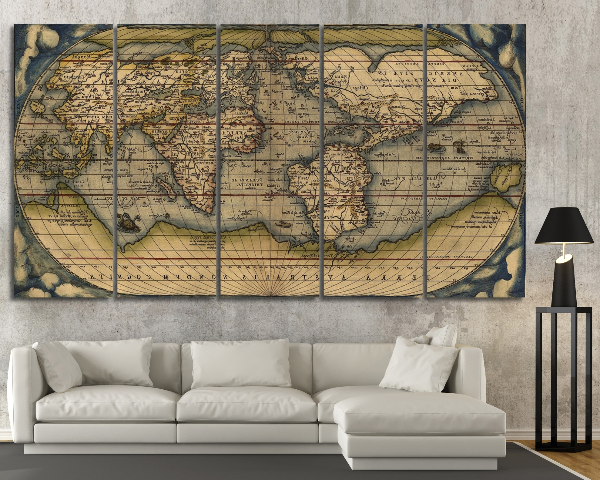 Large Vintage Wall Art Old World Map At Texelprintart Pertaining To Most Current Maps Wall Art (Gallery 1 of 20)
