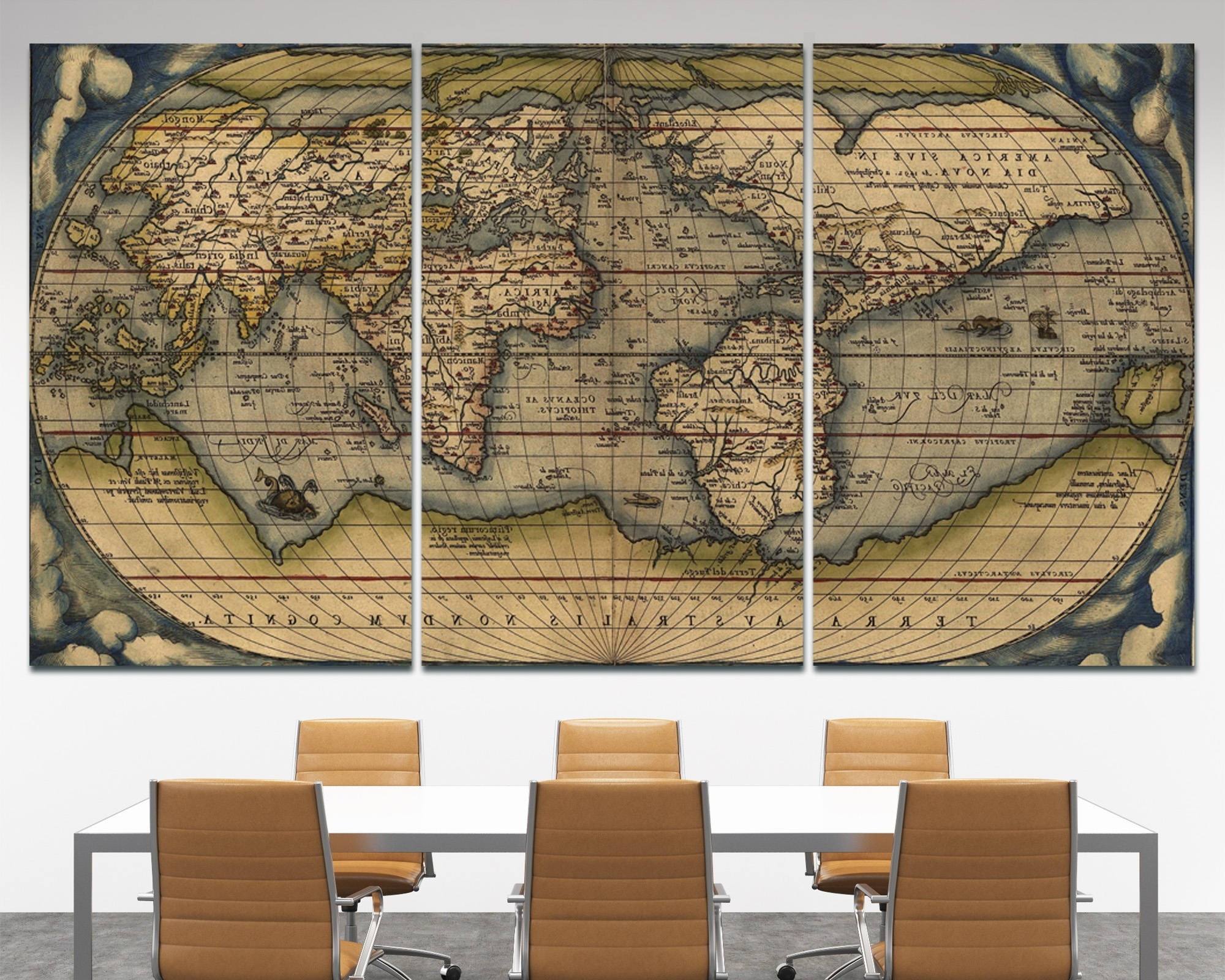 Large Vintage Wall Art Old World Map At Texelprintart Regarding Most Recently Released World Map Wall Art Canvas (View 17 of 20)