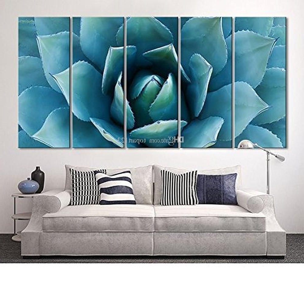 Large Wall Art Blue Agave Canvas Prints Agave Flower Large Art With Regard To Most Current Large Canvas Painting Wall Art (View 6 of 20)