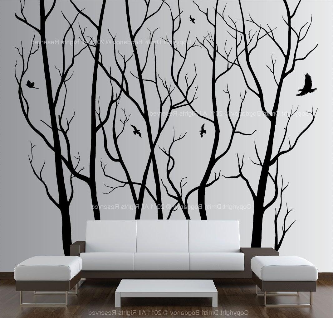 Large Wall Art Decor Vinyl Tree Forest Decal Sticker (choose Size Regarding 2018 Vinyl Wall Art (View 7 of 15)