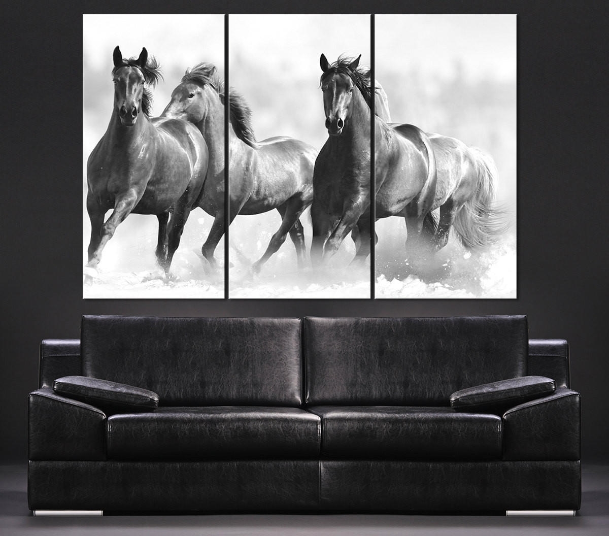 Large Wall Art Running Wild Horses Canvas From Mycanvasprint Pertaining To Well Known Horses Wall Art (View 12 of 20)