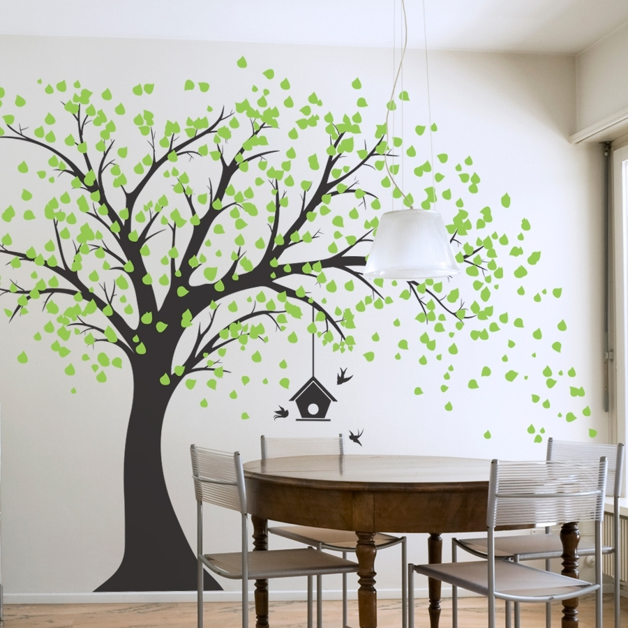 Large Windy Tree With Birdhouse Wall Decal – Gabc Throughout Best And Newest Tree Wall Art (View 6 of 15)
