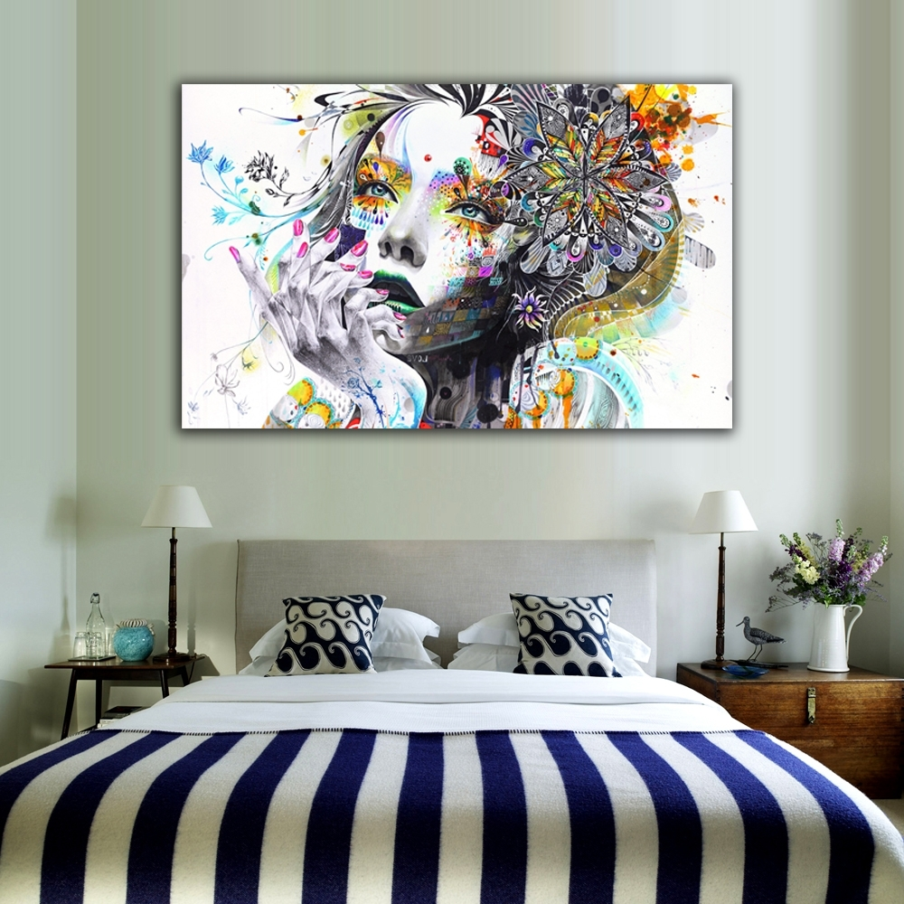Latest 1 Piece Modern Wall Art Girl With Flowers Unframed Canvas Painting In Modern Wall Art (Gallery 1 of 15)