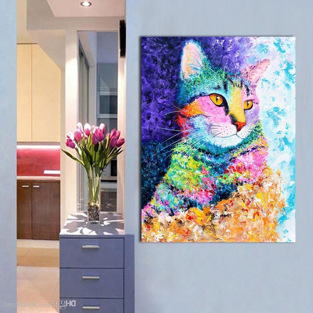 Latest 2018 1 Panel Wall Art Picture The Colorful Cat Oil Painting Canvas Pertaining To Cat Canvas Wall Art (Gallery 9 of 20)