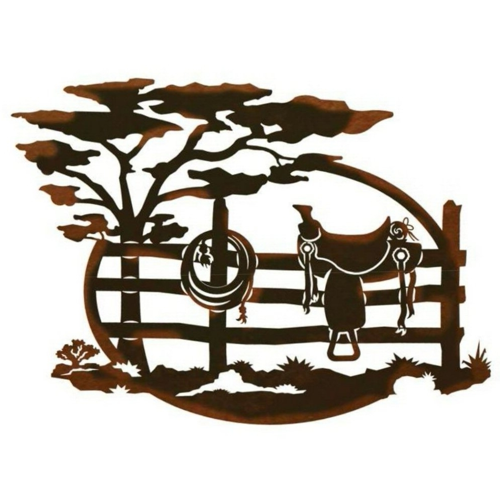 "Latest 26"" Saddle Sitting On A Fence Scenic Metal Wall Art – Western Wall Decor Throughout Western Wall Art (View 17 of 20)"