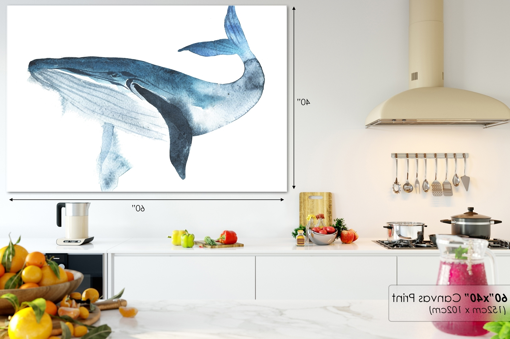 Latest A692 Blue Whale Watercolour Sketch Animal Canvas Wall Art Framed In Whale Canvas Wall Art (View 20 of 20)