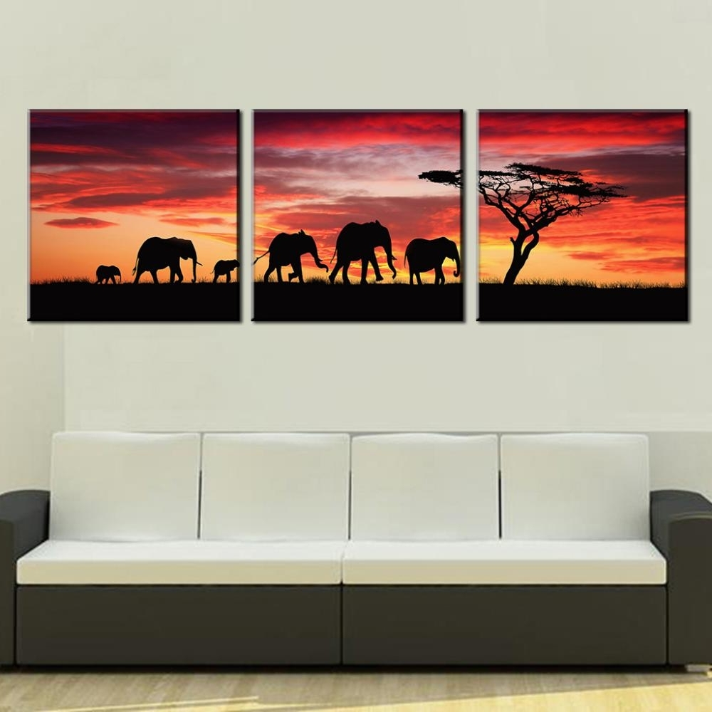 Latest African Wall Art With Regard To 3 Pcs/set Landscape Painting Wall Art Pictures African Elephants (Gallery 14 of 15)