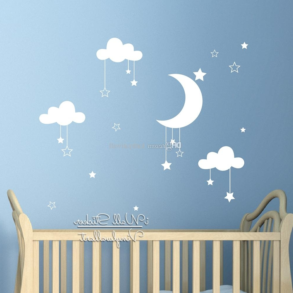 Latest Baby Room Wall Art Inside Baby Nursery Clouds Stars Wall Sticker Moon Clouds Wall Decal Kids (View 4 of 20)