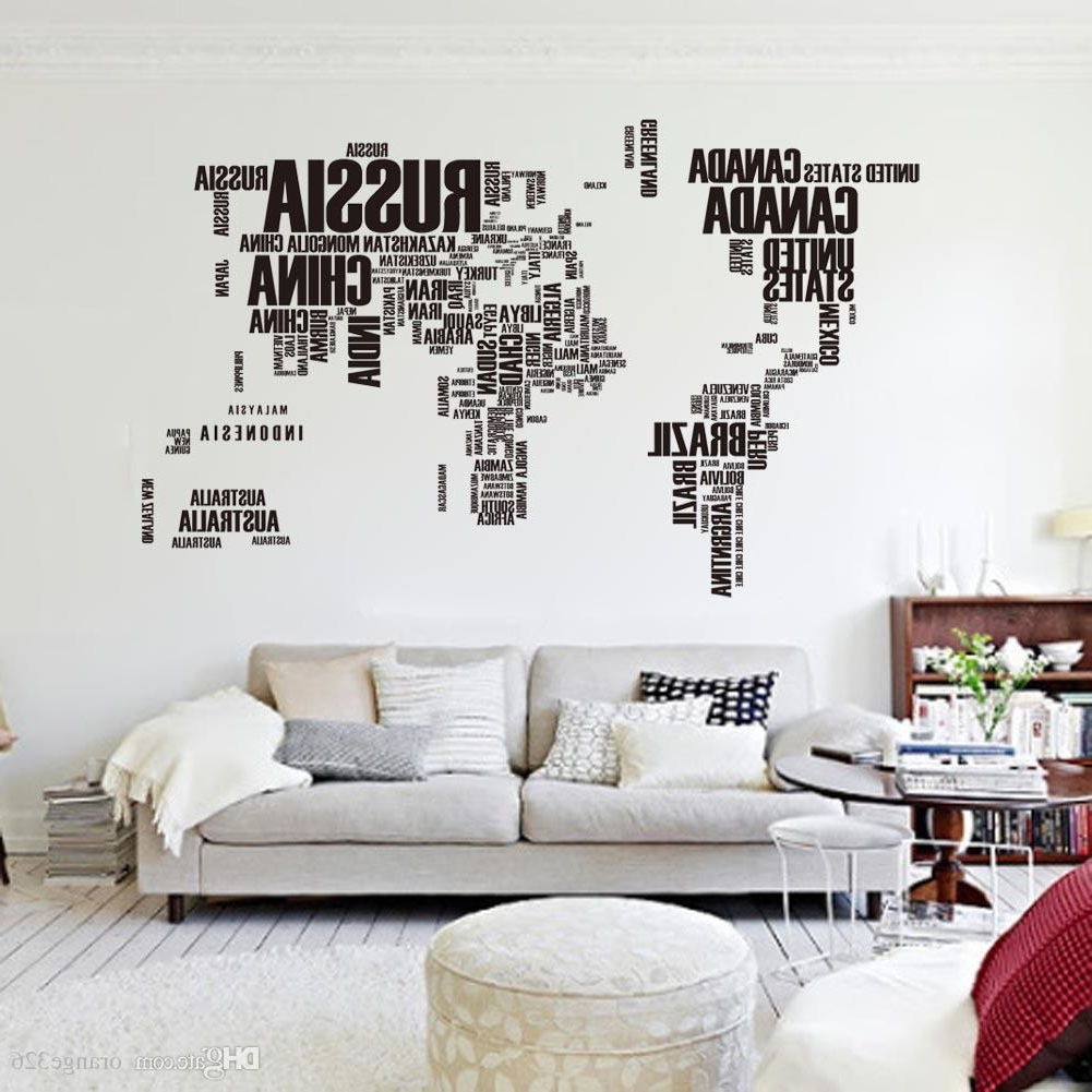 Latest Black Letters World Map Wall Stikers Office Living Room Decoration Intended For Stick On Wall Art (View 3 of 20)