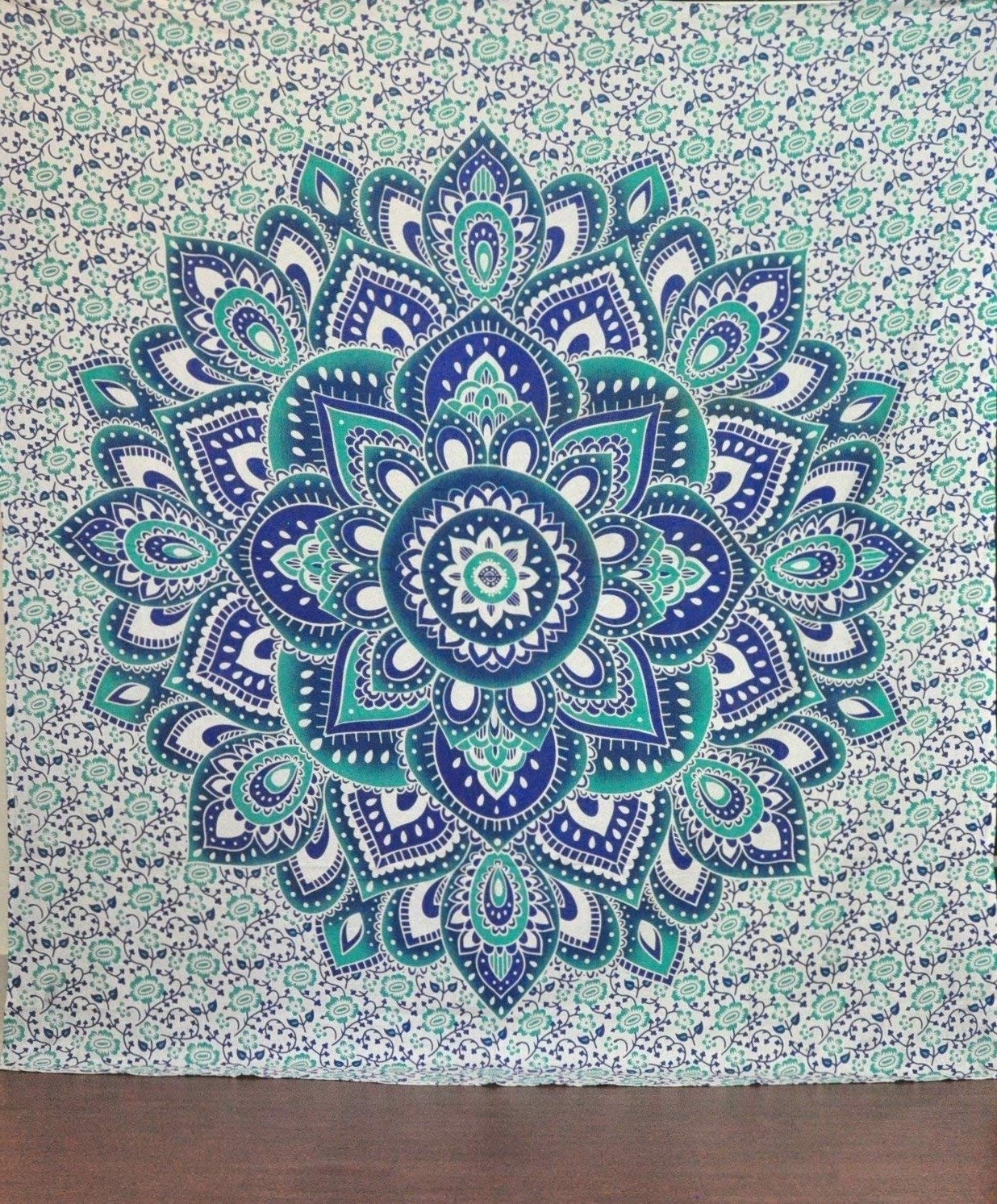 Latest Bohemian Wall Art Inside Amazon: Green And Blue Mandala Tapestry Ombre Mandala Wall (View 11 of 20)