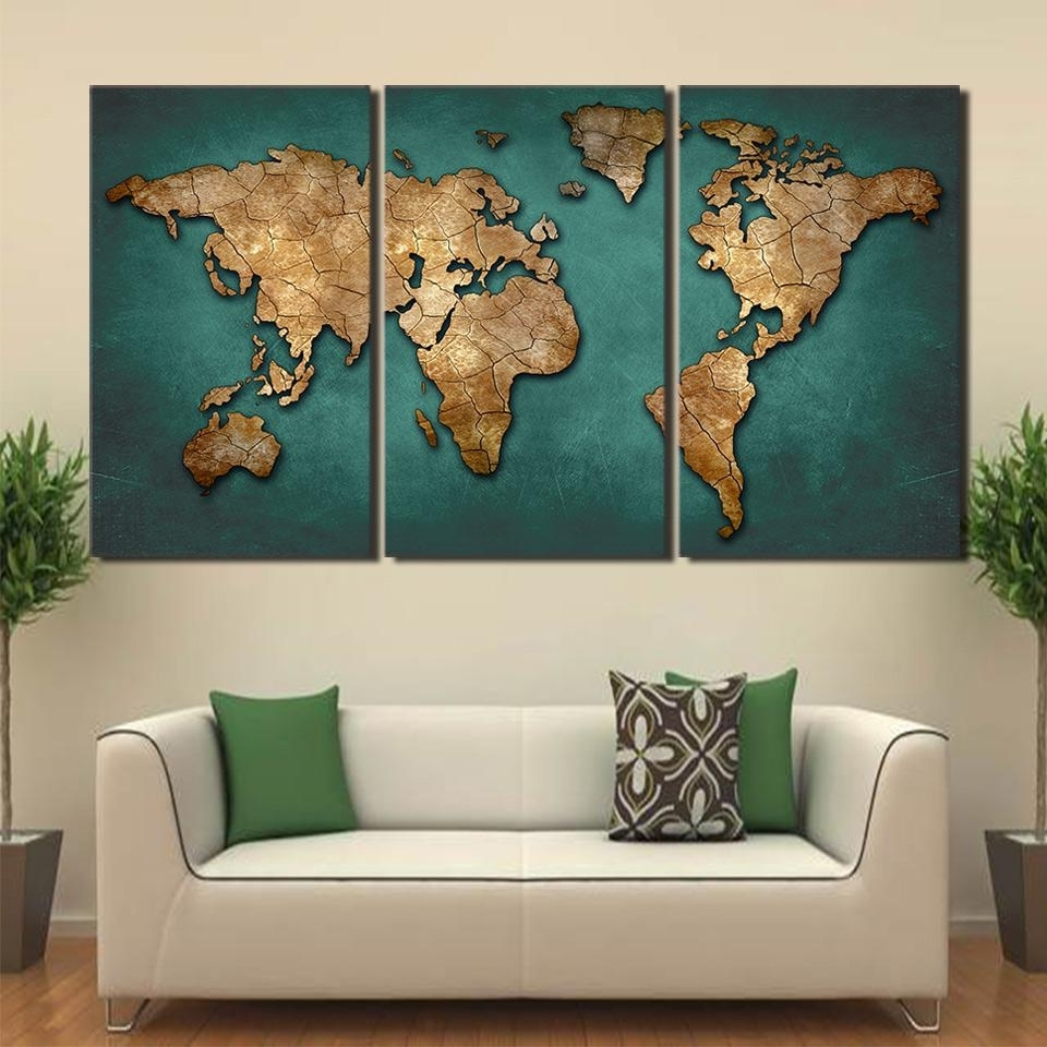 Latest Canvas Art World Map Canvas Painting Vintage Continent Wall Picture Intended For Wall Art World Map (View 6 of 20)