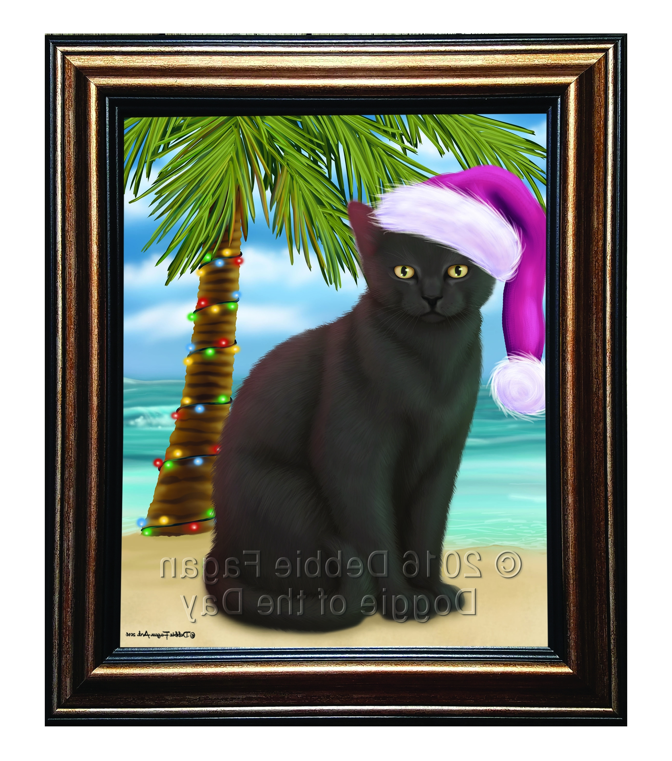 Latest Cat Canvas Wall Art With Regard To Summertime Happy Holidays Black Cat Framed Canvas Print Wall Art (View 11 of 20)
