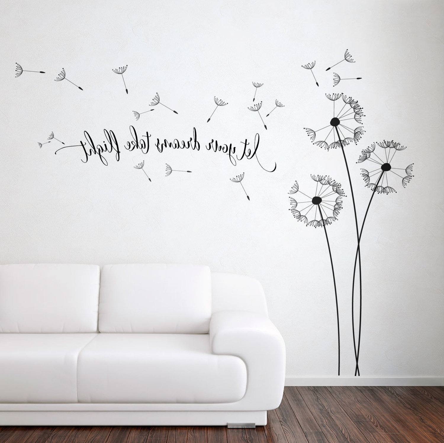 Latest Dandelion Wall Art Pertaining To Dandelion Blowing With Quote Wall Sticker, Floral Sticker, Flower (Gallery 1 of 20)