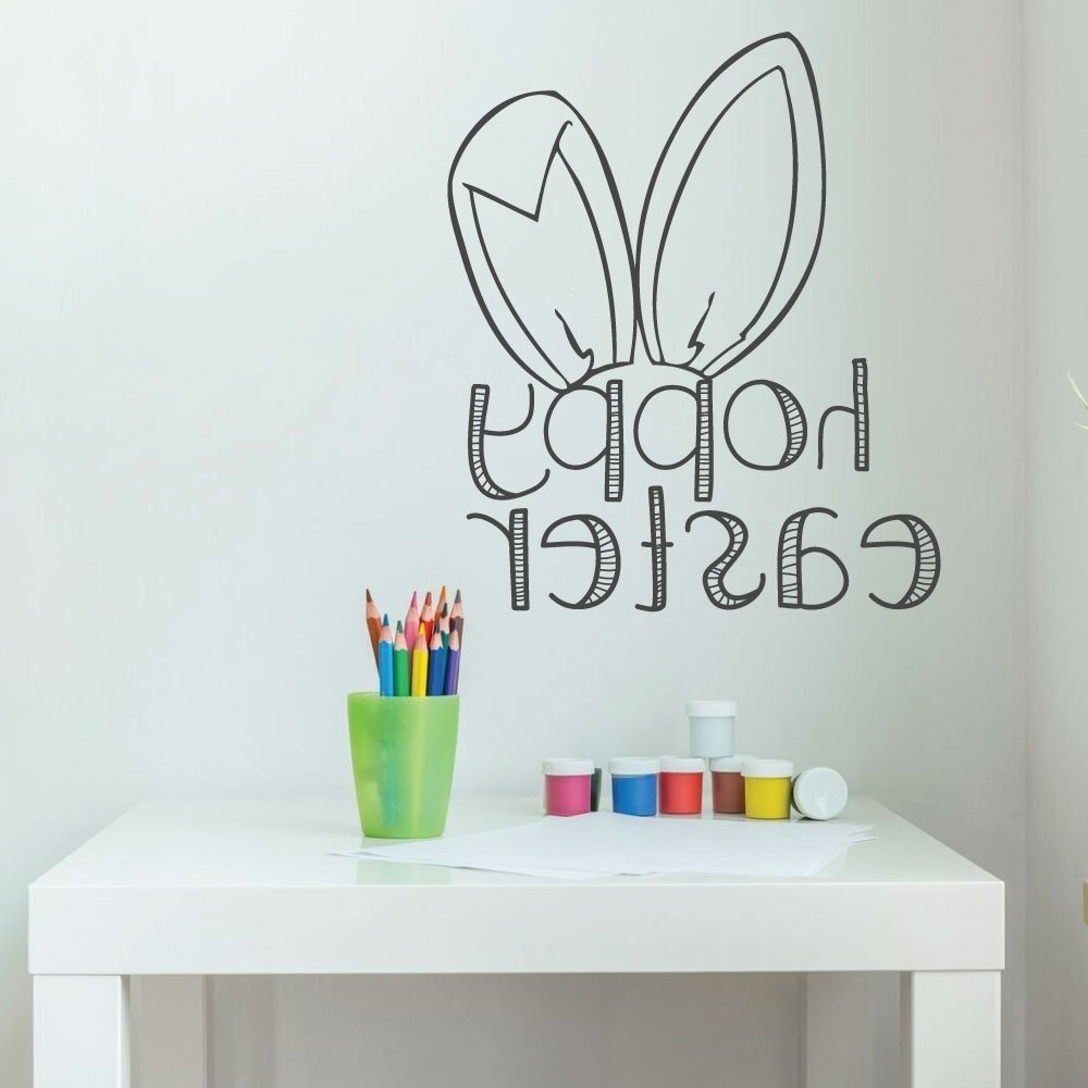 Latest Easter Bunny Decorations, Christian Vinyl Wall Art, Easter Fun Wall Within Bunny Wall Art (View 19 of 20)