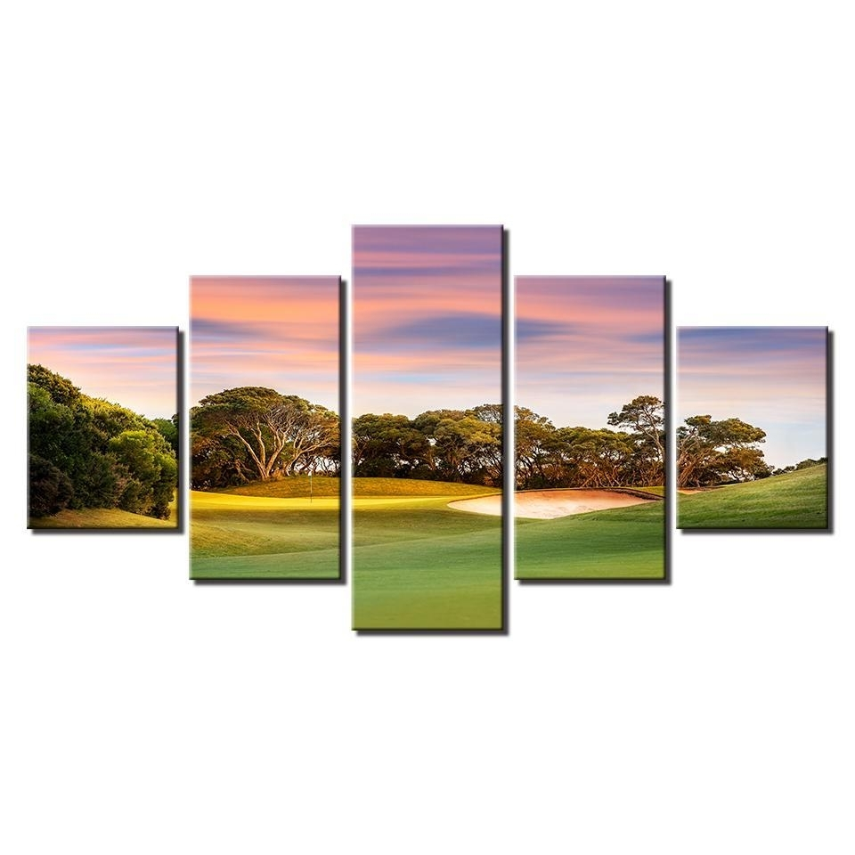 Latest Framed 5 Piece Sunset Golf Course Canvas Wall Art Paintings Home Intended For Golf Canvas Wall Art (View 16 of 20)