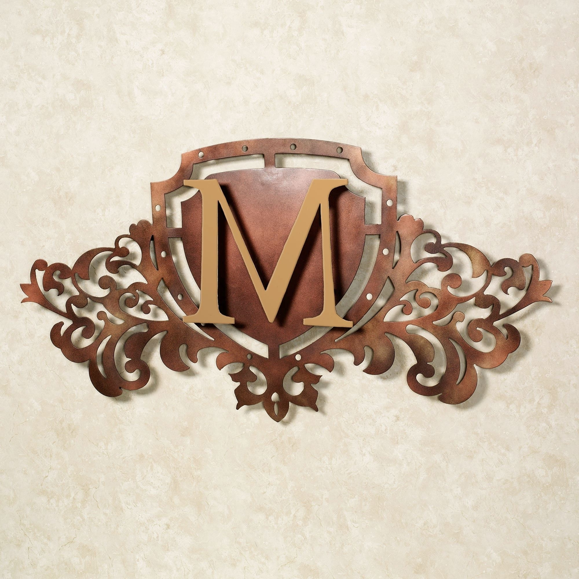 Latest Generations Bronze Monogram Crest Metal Wall Art Sign Throughout Bronze Wall Art (View 12 of 20)