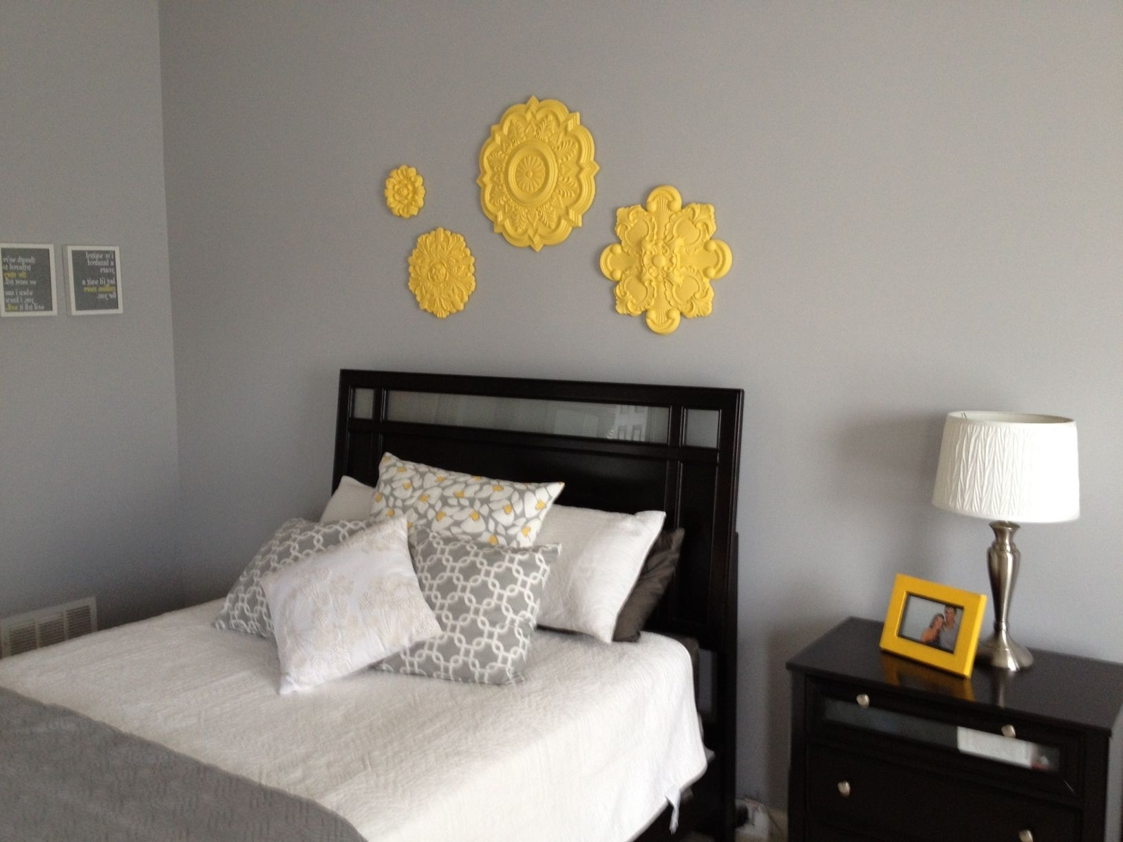 Latest Grey And Yellow Toned Bedroom Ideas With Ceiling Medallion Wall Art With Ceiling Medallion Wall Art (Gallery 6 of 15)